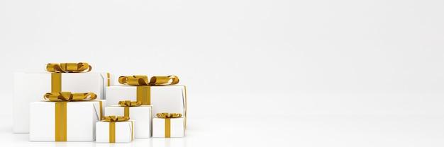 Coffret cadeau de rendu 3d couleur pastel joyeux noël et bonne année maquette