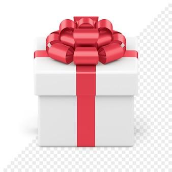 Coffret festif blanc avec noeud brillant rouge isolé sur blanc. paquet créatif avec ruban et nœud luxueux. présenter une surprise pour le nouvel an et les événements de vacances. objet à vendre bannière ou carte de voeux.