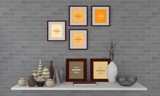 Collage de cadre photo vide arrangement intérieur