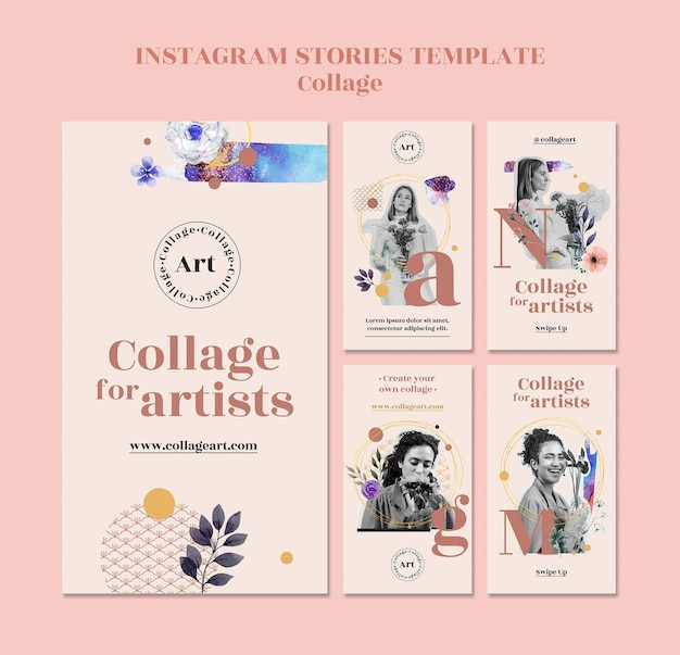 Collage pour le modèle d'histoires instagram d'artistes