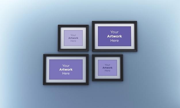 Collage de quatre cadres photo vide mockup design