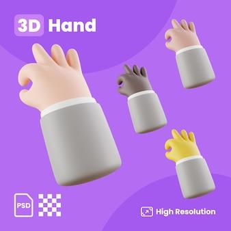 Collection 3d de gestes de cueillette à la main
