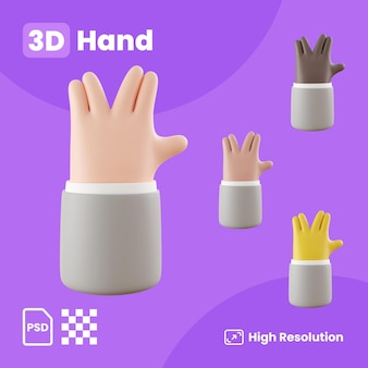 Collection 3d avec des mains faisant des salutations extraterrestres