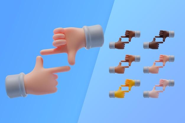 Collection 3d avec des mains faisant le symbole du cadre