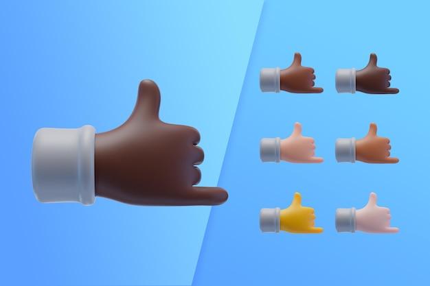 Collection 3d avec des mains montrant un signe cool