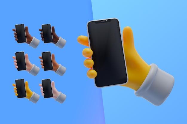 Collection 3d avec les mains tenant le smartphone