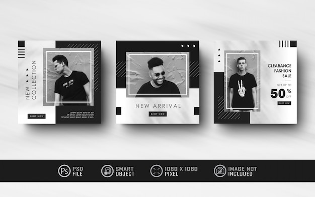 Collection de bannière de flux de médias sociaux instagram noir et blanc minimaliste