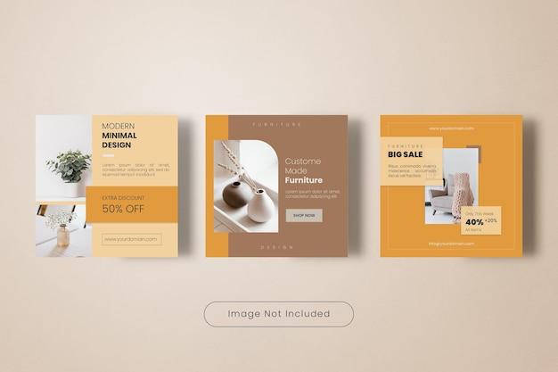 Collection de bannières de modèles de publication instagram de meubles de maison minimes