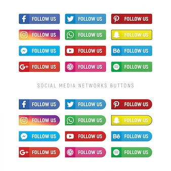 Collection de boutons de réseau de médias sociaux