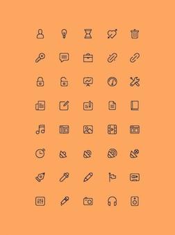 Collection contour des icônes psd