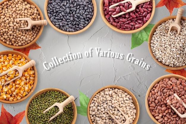 Collection de divers grains dans des bols sur fond de couleur blanche de surface.