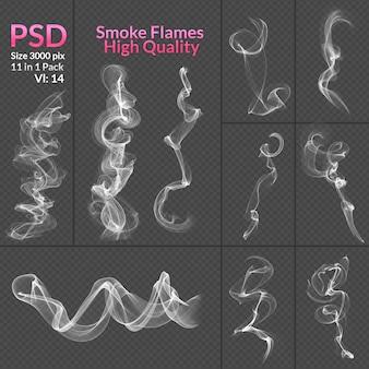 Collection fumée isolée fond transparent