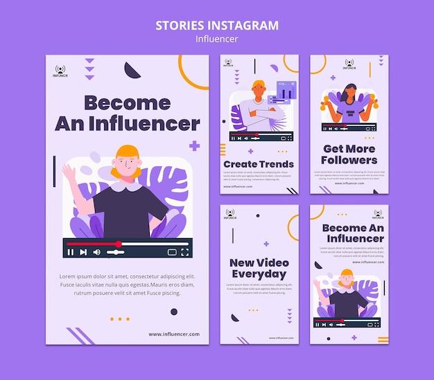 Collection d'histoires d'influenceur instagram