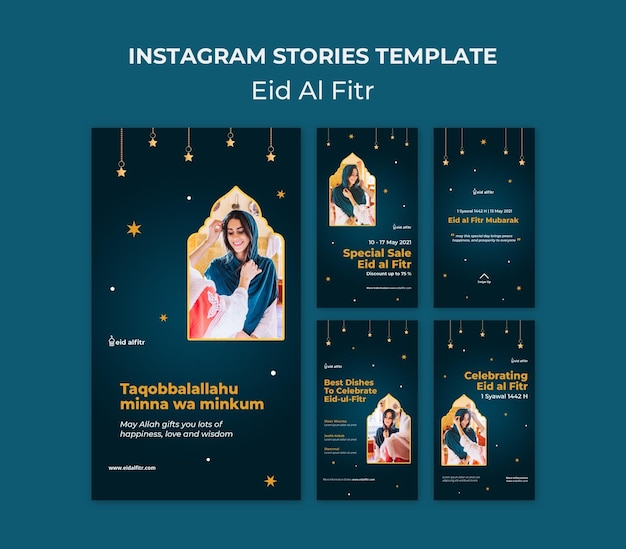 Collection d'histoires instagram de l'aïd al-fitr