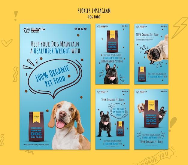 Collection d'histoires instagram d'aliments biologiques pour animaux de compagnie