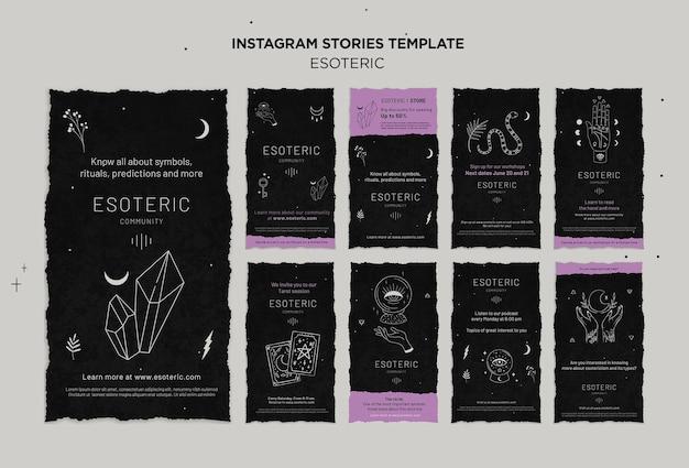 Collection d'histoires instagram d'artisanat ésotérique
