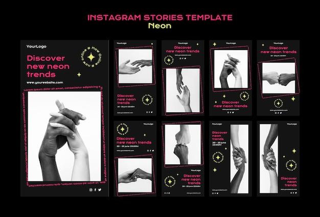 Collection d'histoires instagram au néon pour les nouvelles tendances en ligne