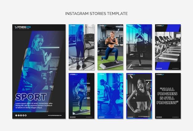 Collection d'histoires instagram avec concept de remise en forme