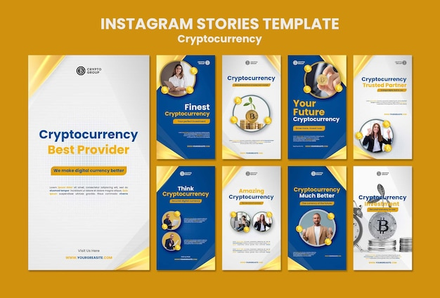 Collection d'histoires instagram de crypto-monnaie