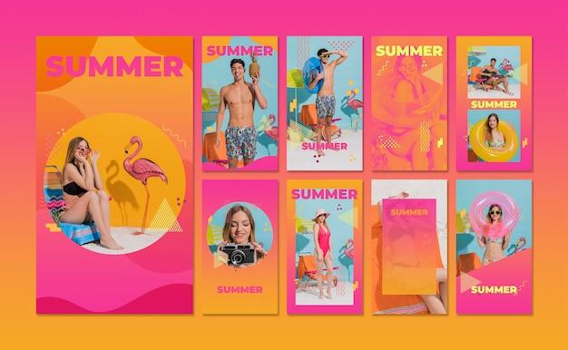Collection d'histoires instagram dans le style memphis avec concept d'été