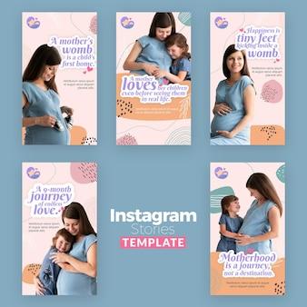 Collection d'histoires instagram avec une femme enceinte