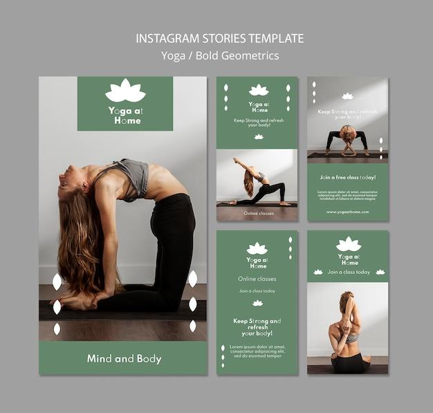 Collection d'histoires instagram avec une femme pratiquant le yoga