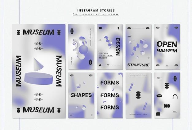 Collection d'histoires instagram de formes géométriques 3d
