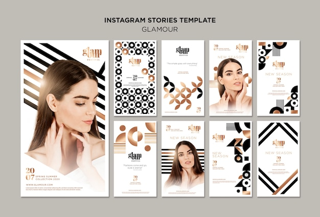 Collection d'histoires instagram glamour moderne