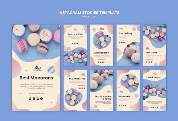 Collection d'histoires instagram avec des macarons