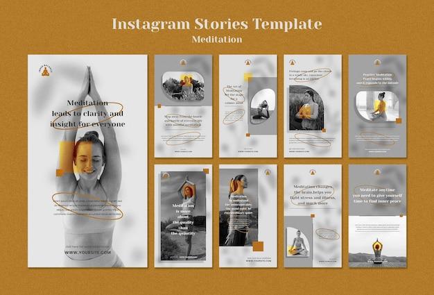 Collection d'histoires instagram de mode de vie de méditation