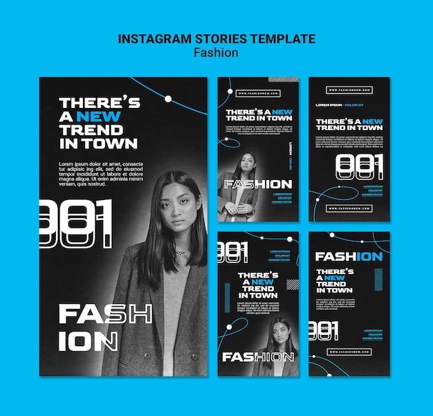 Collection d'histoires instagram monochromes pour les tendances de la mode avec femme