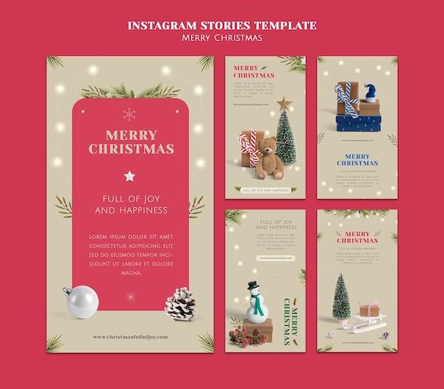 Collection d'histoires instagram de noël minimaliste