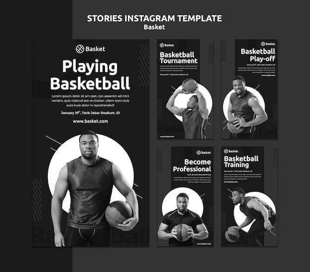 Collection d'histoires instagram en noir et blanc avec un athlète de basket-ball masculin