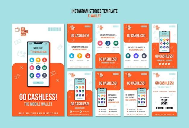Collection d'histoires instagram de portefeuille électronique