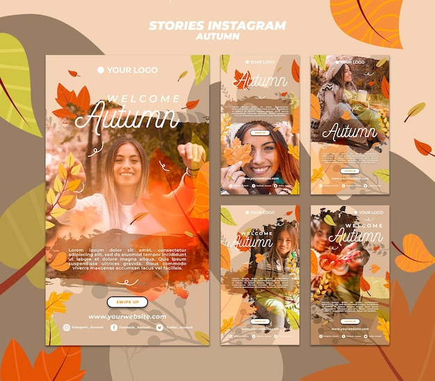 Collection d'histoires instagram pour accueillir la saison automnale