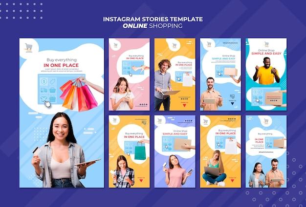 Collection d'histoires instagram pour les achats en ligne