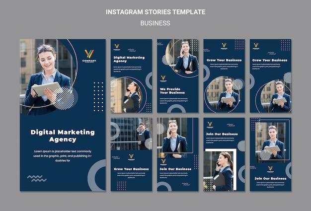 Collection d'histoires instagram pour une agence de marketing numérique