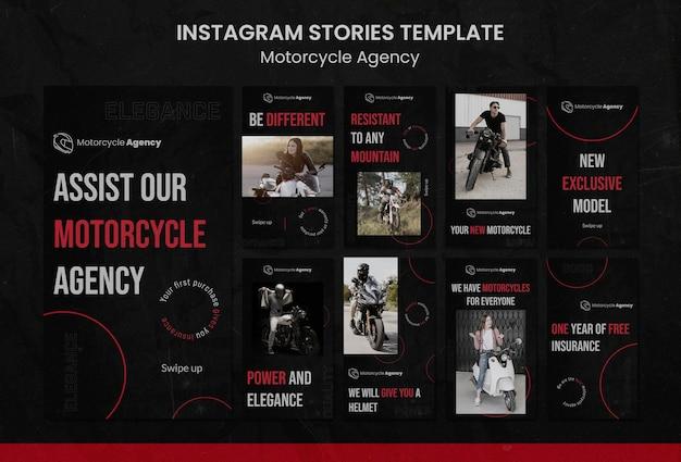 Collection d'histoires instagram pour une agence de moto avec un pilote masculin