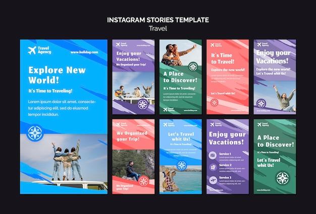 Collection d'histoires instagram pour agence de voyage