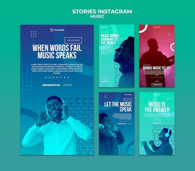 Collection d'histoires instagram pour les amateurs de musique