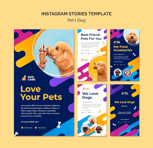 Collection d'histoires instagram pour les animaleries
