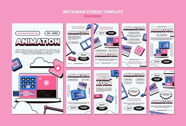 Collection d'histoires instagram pour l'animation par ordinateur