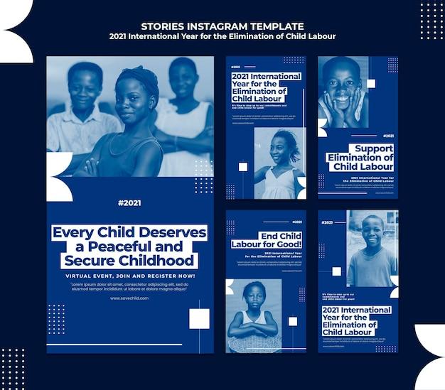 Collection d'histoires instagram pour l'année internationale de l'élimination du travail des enfants