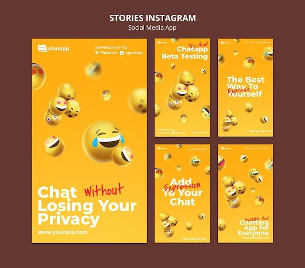 Collection d'histoires instagram pour l'application de chat sur les réseaux sociaux avec emojis