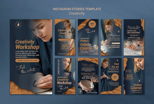 Collection d'histoires instagram pour un atelier de poterie créatif avec une femme