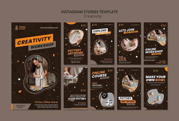 Collection d'histoires instagram pour l'atelier de poterie