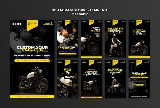 Collection d'histoires instagram pour un atelier de réparation de motos