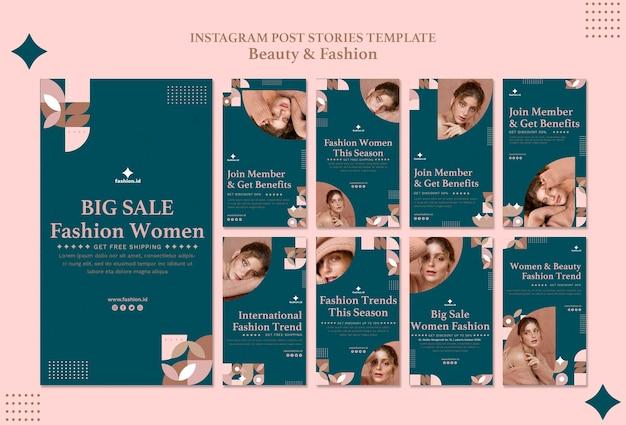 Collection d'histoires instagram pour la beauté et la mode des femmes