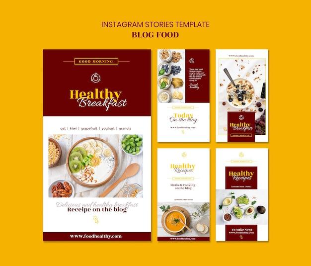 Collection d'histoires instagram pour le blog de recettes d'aliments sains