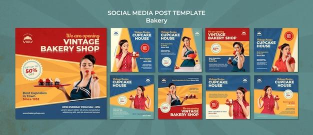 Collection d'histoires instagram pour boulangerie vintage avec femme